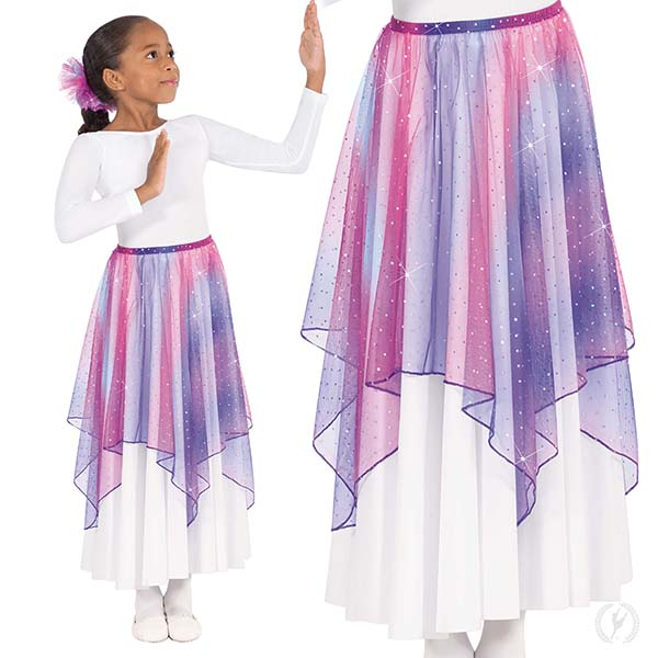 fe9d64b2e8 13768c - Girls Soft Skies Sequined Tulle Drape and Skirt Praise Overlay