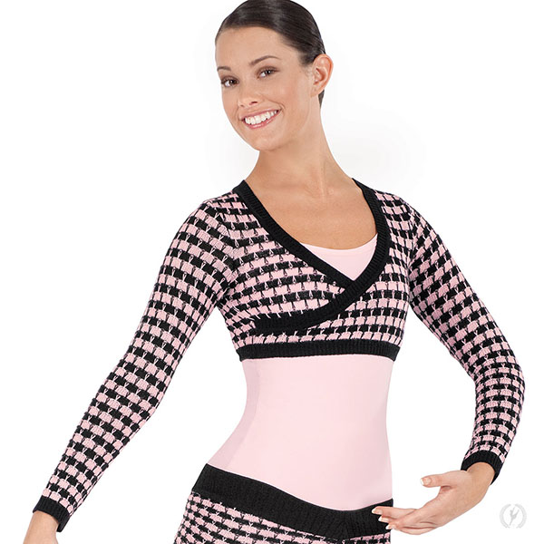 087cbd3183c5d 72512 - Womens Soft Knit Houndstooth Mock Wrap Mini Ballet Sweater